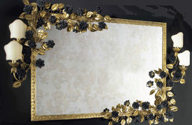 Зеркало Black and gold with appliques Roses Mirror , VILLARI - HOME&LIGHT, 4002329.802