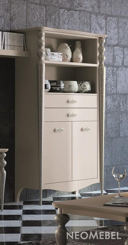 Книжный шкаф с 2 дверками и 2 выдвижными ящиками и открытыми.