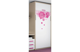 Стеллаж со встроенной кроватью, ROS - INFANTIL, 7620f, shelves with bed, finished New Lac - blanco NB10, New Lac - vison NT05, handles type tetris 7 in Fucsia NI30